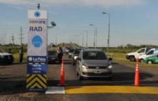 Nuevo puesto de control en la bajada de la Autopista Buenos Aires � La Plata en Villa Elisa.